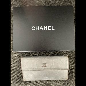 CHANEL Silver Metallic Continental Wallet